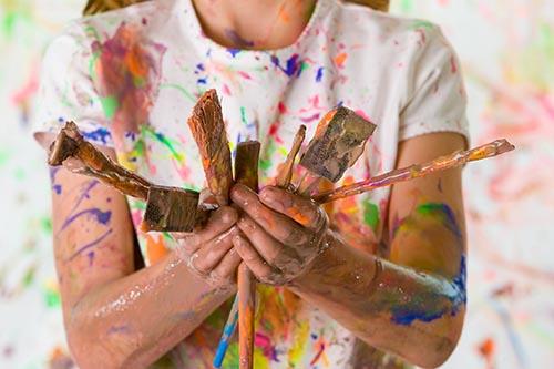 Malen mit Pinseln